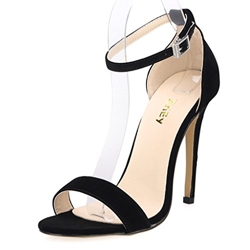 ZriEy(TM) Women's Ladies Strappy High Heel Sandals Ankle Strap Cuff Peep Toe Shoes Black size 7.5