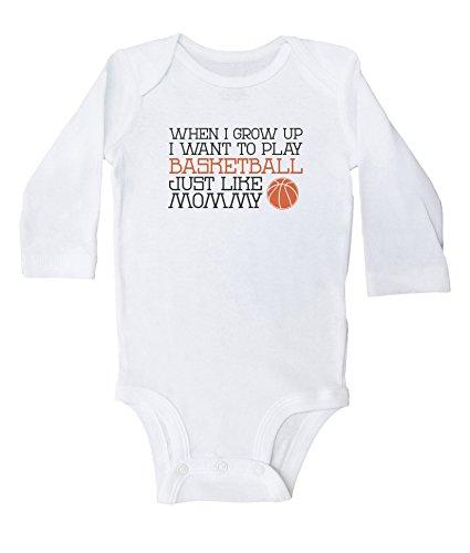 Funny Basketball Onesie for Boys or Girls / Play Basketball Like Mommy / Baffle (18mo, White Long Sleeve)