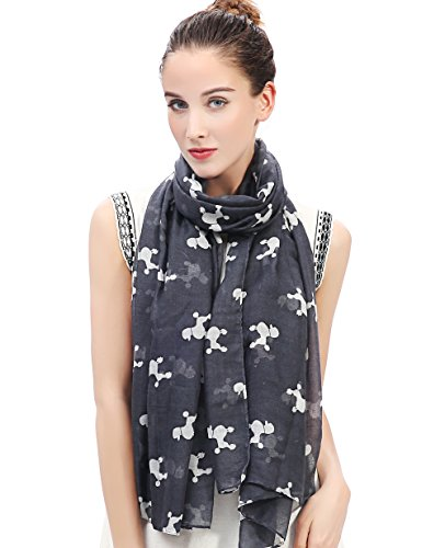 White Poodle Scarf (Lina & Lily Poodle Dog Print Women's Scarf Shawl Lightweight (Grey&White))