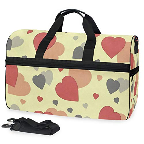 Travel Gym Bag Abstract Hearts Overnight Yoga Bag With Shoes Compartment Foldable Duffle Bag For Men Women
