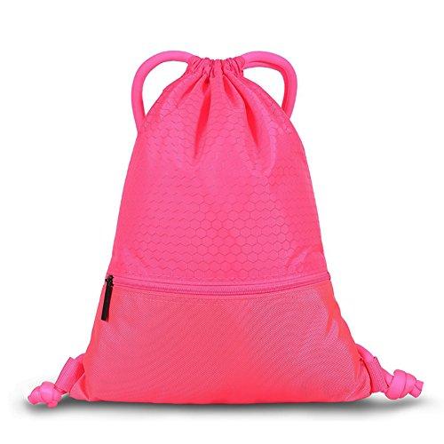 Savanaha Drawstring Backpack Waterproof Sackpack Double Sturdy Sports Backpack 2 Sizes(Pink-L)