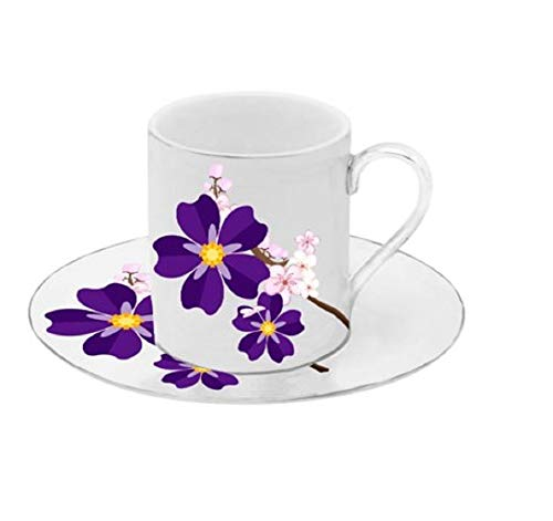 (Porcelain China Espresso Turkish Coffee Demitasse Set of 6 Cups + Saucers (Violet Flowers))