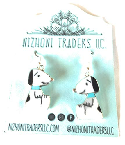 Zuni Inlay Onyx And Mother Of Pearl Snoopy Dangle Earrings from Nizhoni Traders LLC