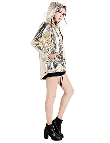 Haoduoyi Womens Zipper Up Baseball Jacket Gold Bomber - Vegas Fashion Shops Las Show At