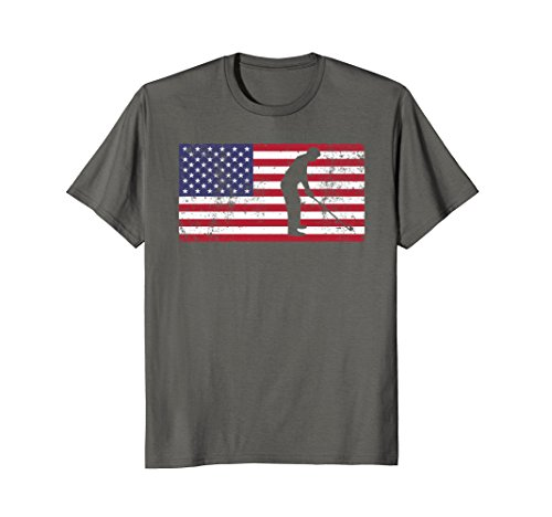 Grandma Golf Shirt (Mens American Flag Golf GIFT Patriotic Father's Day T-Shirt Gift Large Asphalt)