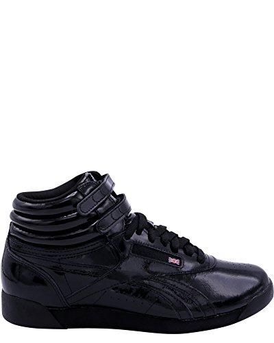Reebok Women's Freestyle Hi Patent Sneakers,Black,8 (Freestyle Hi Sneaker)