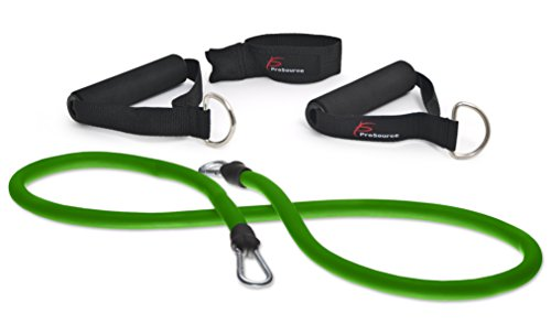ProSource Single Stackable Resistance Bands with Door Anchor and Exercise Guide, 5-50 lb, Heavy Duty Fitness Tube for Full-Body Exercises, P90X, Insanity, and Home Workouts