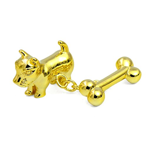 ENVIDIA Men's 2 PCS Rhodium Plated Gold Cute Dog and Bone Design Chain Link Cufflinks 1 Pair Set with Gift Box