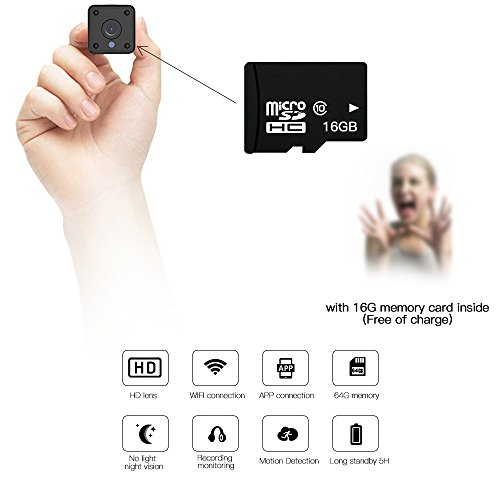 Miniature Spy Hidden Invisible Espias Mini Camera Wireless Wifi Mobile Phone Remote Panoramic Camera Home Hd Night Vision Network Monitoring Cameras Inside Outside 720P With 16G Memory Card Inside