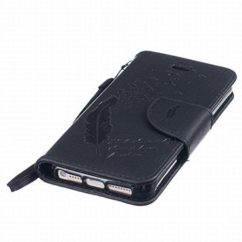 Yiizy Apple Iphone 5s, Iphone SE Hülle, Feather Prägung Entwurf PU Ledertasche Klappe Beutel Tasche Leder Haut Schale Skin Schutzhülle Cover Case Stehen Kartenhalter Stil Bumper Schutz (Schwarz)