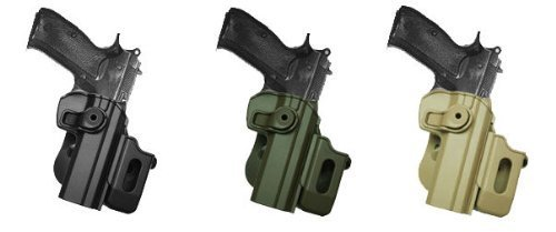 Polymer Retention Roto Holster Fits CZ 75/75B COMPACT/75B OMEGA (9mm/.40) with detachable magazine pouch. Black by IMI RSR Defense
