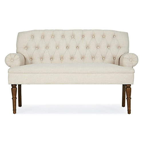 (Beige Button Tufted Settee Vintage Sofa Bench w/Linen Fabric Wood Legs Furniture)