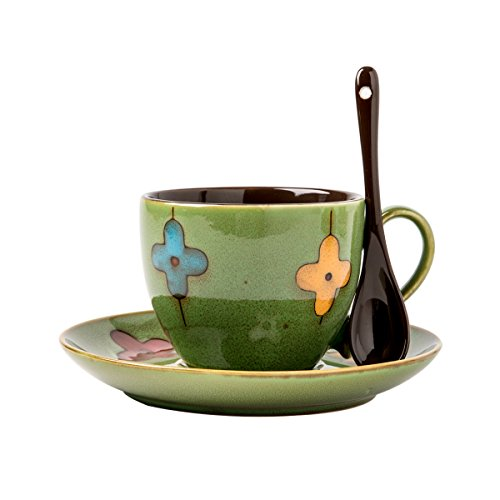 (Verdental Coffee Mug Sets Ceramic Four-leaf Clover Mini Tea Cup with Spoon and Saucer (Green))
