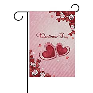 My Daily Valentine's Day Heart Flower Decorative Double Sided Garden Flag 12 x 18 inch