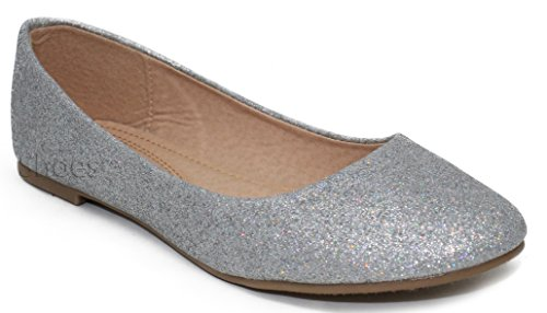 Silver Formal Shoes m33 On Women's Flats Glitter Rhinestone Slip Crystal MVE zqwY4Fw