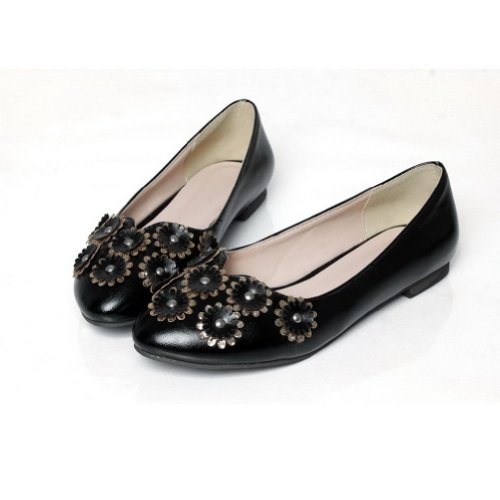 AmoonyFashion Womans Closed Round Toe Flats PU Soft Material Solid Flats with Flower Black yf3U9