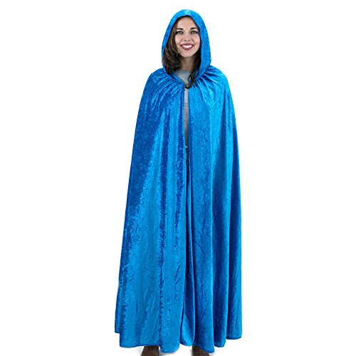 Everfan Royal Blue Hooded Cape | Cloak with Hood for Halloween, Cosplay, Costume, Dress Up ()