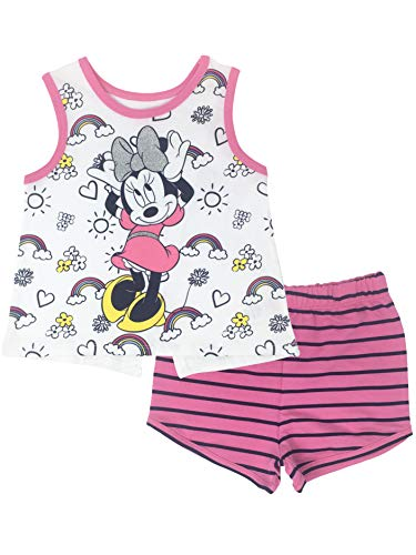 - Disney Minnie Mouse Toddler Girls' High-Low Tank Top & French Terry Shorts Set (White, 2T)