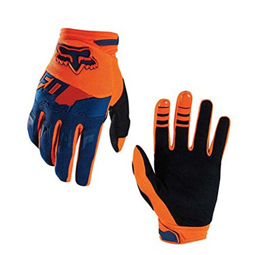 Full-Finger Racing Motorcycle Gloves MTB Bike Mittens Off-Road Riding Gloves Outdoor Sports Gloves (Orange, L)