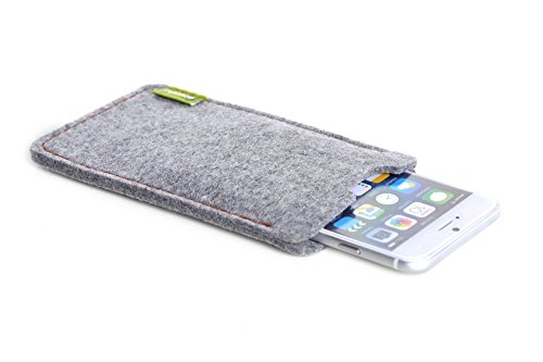 ALMWILD® Hülle, Tasche für Apple iPhone 8 Plus, 7 Plus. Aus Natur- Filz in Alpstein- Grau. Handyhülle in Bayern handgefertigt.