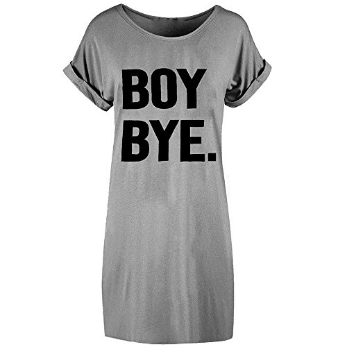 HGWXX7 Womens 2018 New O Neck Letter Print Loose Short Sleeve T-Shirt Dress (S, Gray)