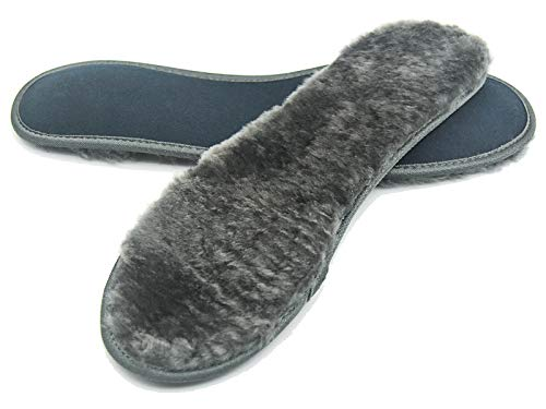 Riemot Mens Sheepskin Insoles Warm and Cozy Wool Inserts for Winter Grey 10