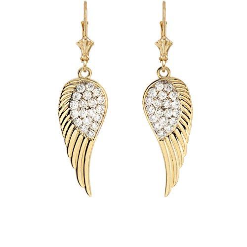 Gold Angel Earrings (Exquisite 14k Yellow Gold Diamond Angel Wings Leverback Earrings)
