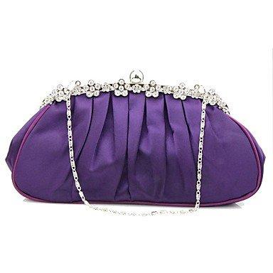 Blanco de Bolsa Las Mujeres FYios Satinado Purple Bodas de Noche xvZ81wIq