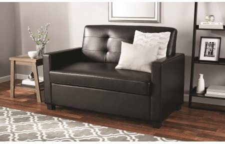 Mainstays Sleeper Sofa with CertiPUR-US certified Memory Foam Mattress – Black Faux Leather