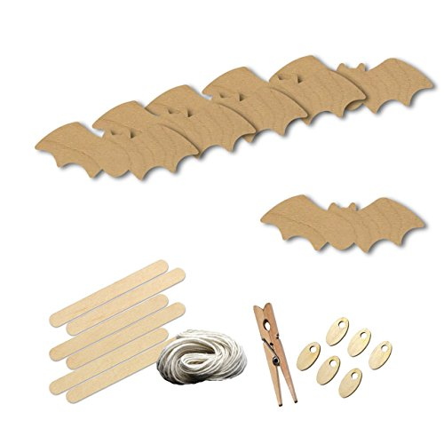 Bat Halloween Style 3919, Wood Shape Craft Kit, 4 Inch Size Kids Project Kit, Great Party, School and (Halloween Bats Arts And Crafts)