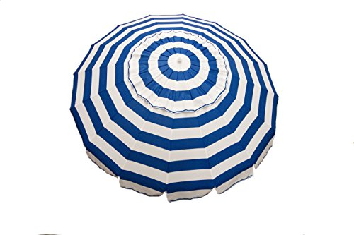 Deluxe Patio Umbrella Stand - Beach Umbrella. Large Outdoor Adjustable Parasol W/Cantilever Base Stand - Best Sun Uv Protection For Garden, Patio, Lawn, Beach, Pool. Solar Cover, Big Shade. 8 Ft Royal Blue And White Stripe