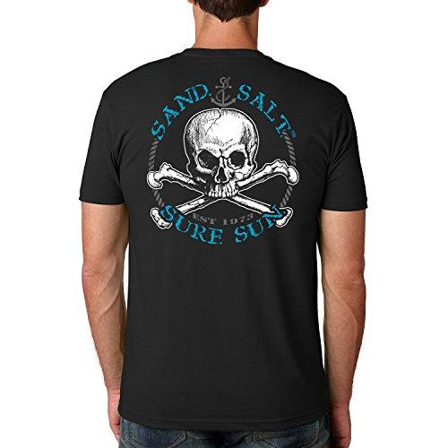 (SAND.SALT.SURF.SUN. Skull Cotton Crew Short Sleeve Shirt Medium Black)