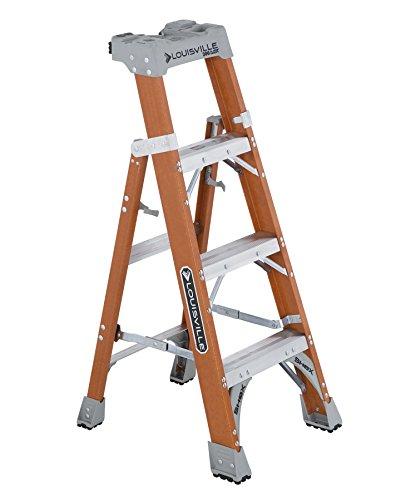 Louisville Ladder 4-foot Fiberglass Step/Shelf Ladder, 300-Pound Capacity, Type IA, Orange, FXS1504