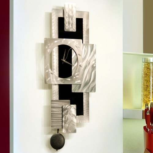 Silver & Black Geometric Abstract Wall Clock -