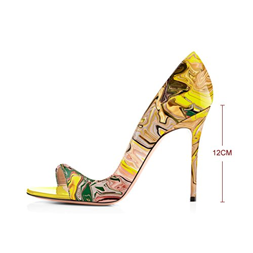 Printing Peep Heel Summer High Onlymaker Toe Sandals Fashion Pu Women`s Spring Multicolor OExYEqZPAw