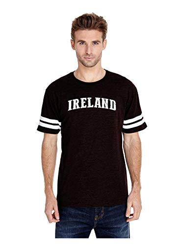 Ireland Flag Dublin City Traveler`s Gift Adult Unisex Football Fine Jersey Tee (2XLB) Black -