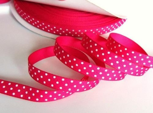 50 yards Shocking pink/white Swiss Polka Dots Grosgrain 3/8