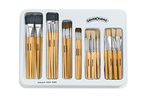 Colorations BRUSHUP Natural Brush Classroom Set (Pack of 30) by Colorations