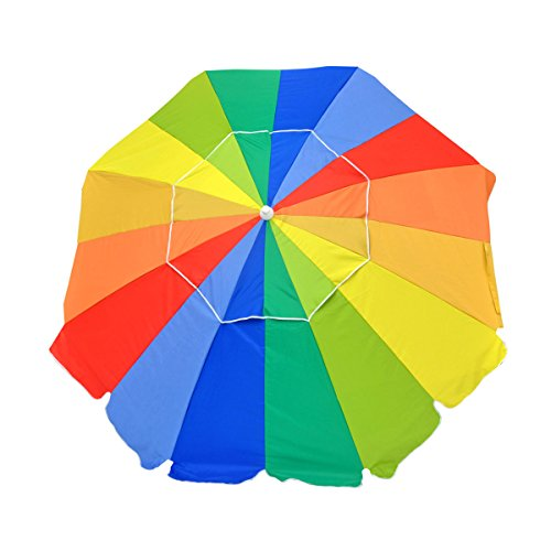 7.5 ft Commercial Grade Fiberglass Beach Umbrella and Patio Umbrella UPF100 with Accessory Hook - One Yr Warranty