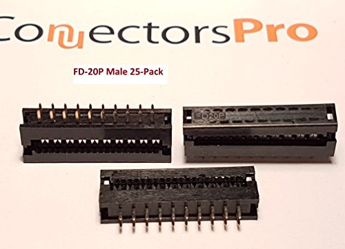 Connectors Pro 25-Pack IDC 2X10 20 Pins 2.54mm 0.1'' Pitch Male Transition Dual Row Plugs for 1.27mm 0.05'' Flat Ribbon Cable FD 20P 25-PK by Connectors Pro