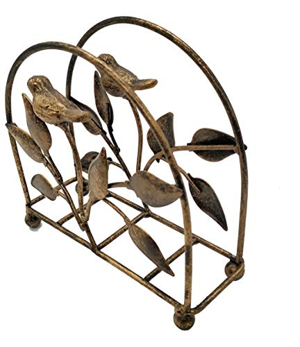 Bird Holder - Cast Iron Bird & Tree Classic Napkin Holder/Tabletop Freestanding Tissue Dispenser, Bronze