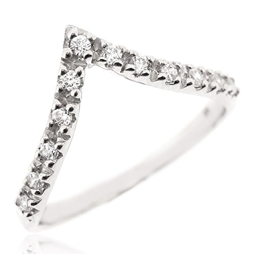 SOVATS Chevron Thumb Ring For Women Set With White Cubic Zirconia 925 Sterling Silver Rhodium Plated - Simple, Stylish &Trendy Nickel Free Ring, Size 8