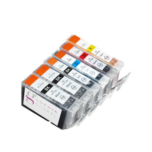 Sophia Global Compatible Ink Cartridge Replacement for Canon PGI-5 and CLI-8 (2 Large Black, 1 Small Black, 1 Cyan, 1 Magenta, and 1 Yellow)