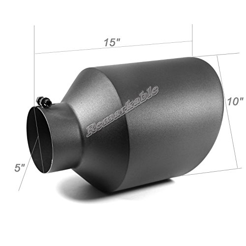 Remarkable Power 5'' Inlet 10'' Outlet 15'' Long Stainless Steel Rolled Edge 20° Exhaust Tip Diesel EXT38