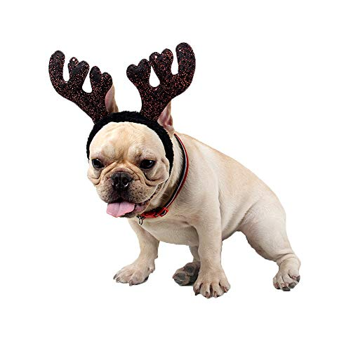 Weite Pet Christmas Headband, Cute Moose Antlers Head Hoop Dogs Cats Adjustable Xmas Cosplay Party Decor Gift Supplies - Topper Antenna Alien