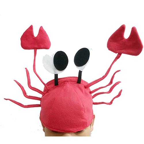 [EKIMI Xmas Christmas Cute Red Crab Hat Party Costume Free Size Gift Present] (A Present Costume)