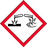 """OSHA Compliant, GHS Corrosion Pictogram, Red Border, Black Symbol, Picto, White Base, Laminated, Safety Decal Label Vinyl Sticker, 1"""" x 1"""", 1X1, 16 decals per unit"""