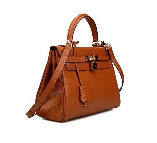 Ainifeel Women's Padlock Shoulder Handbags Hobo Bag (28cm, Brown) by Ainifeel (Image #2)
