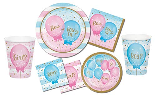 Baby Shower Gender Reveal Partyware Kit in Blue and Pink: Bundle Includes Paper Plates, Napkins, and Cups for 16 Guests