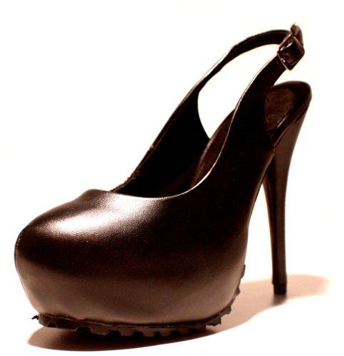 Erogance Kunstleder Plateau High Heels - Plataforma de cuero sintético mujer negro - negro